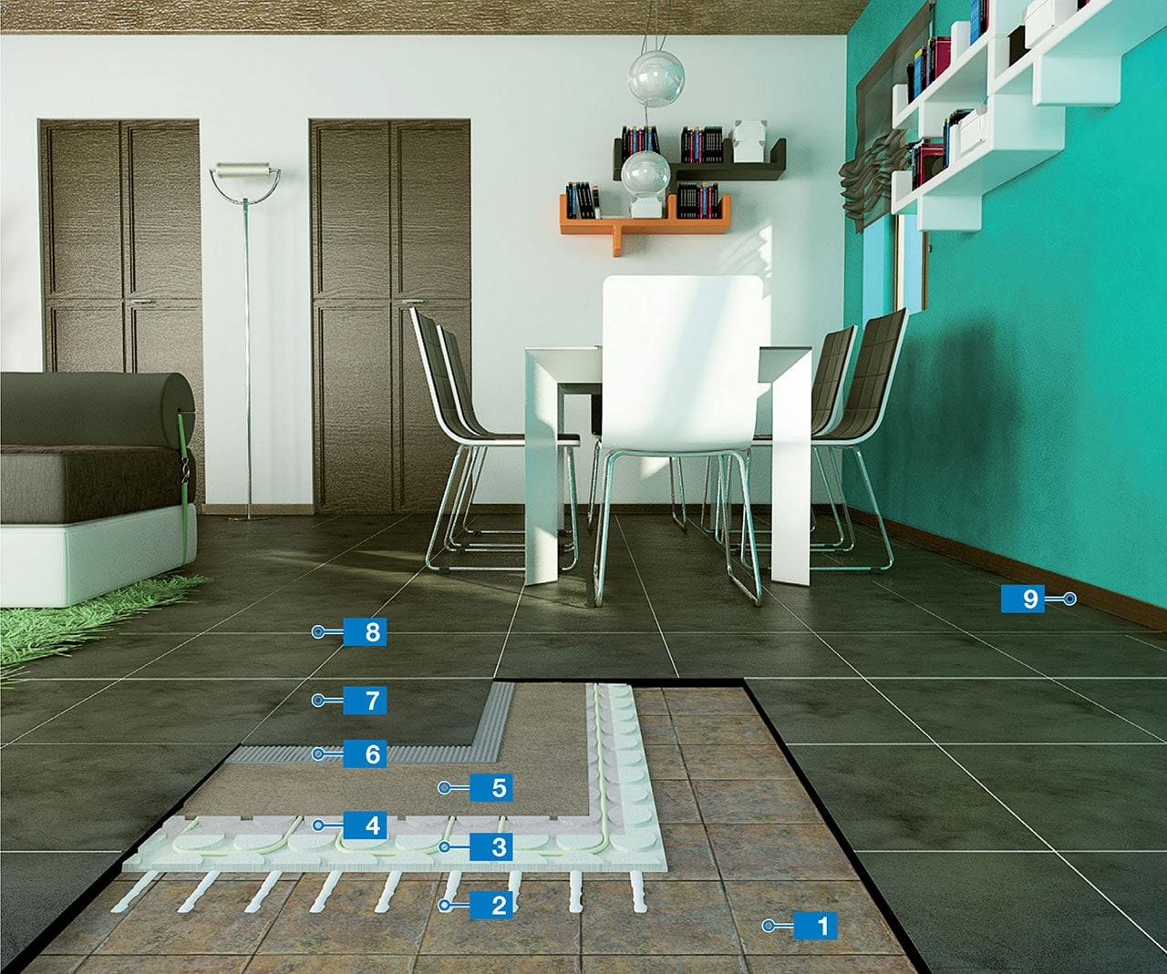 Heated porcelain tile floor