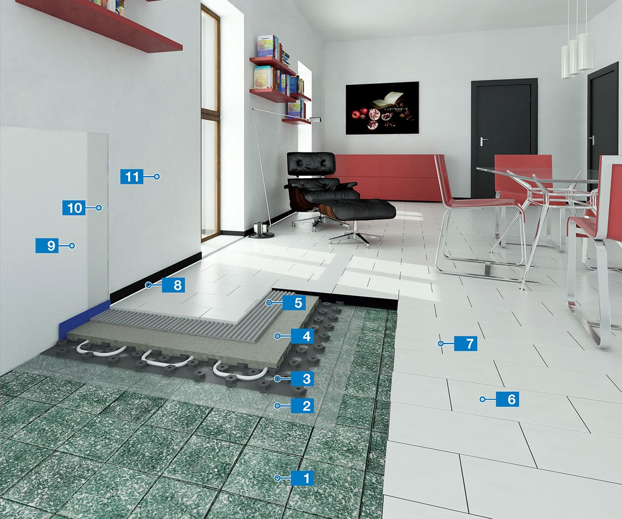 System For The Installation Of Thin Porcelain Tiles On Underfloor