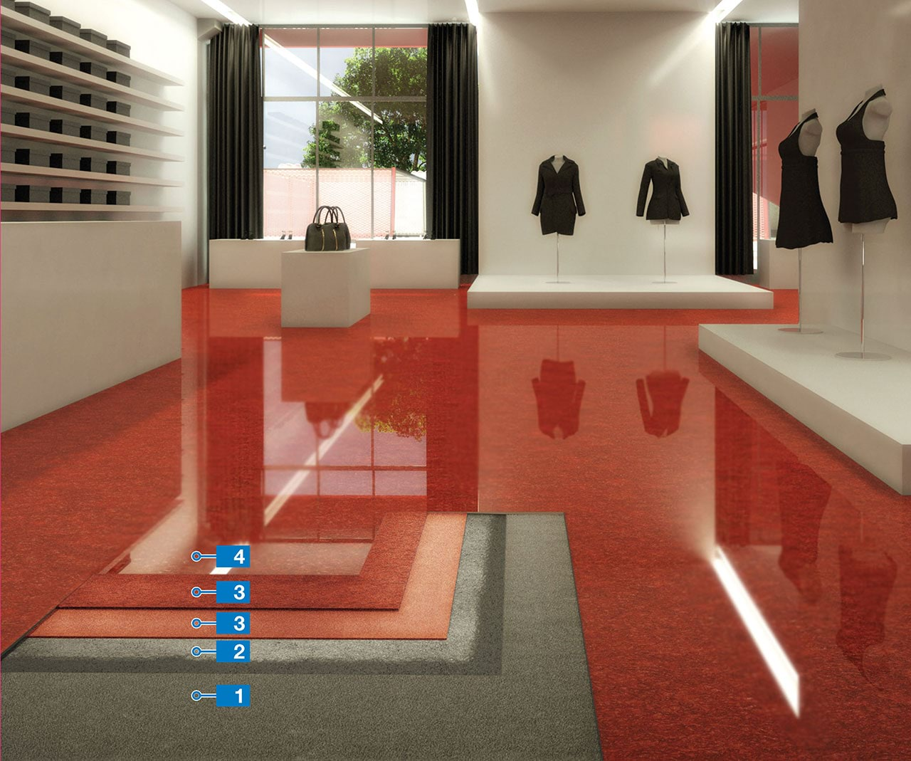 Resina Pavimenti Mapei.Resin Flooring With High Aesthetic Value For Commercial Use